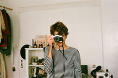 Striped skirt and camera combo = so right!