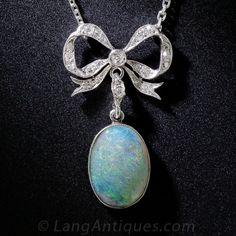 Edwardian Platinum Opal and Diamond Bow Necklace