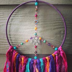 Hippie Garden, Yoga Studio Decor, Spiritual Decor, Diy Wind Chimes, Dream Catcher Boho, Czech Glass Beads, Boho Dreamcatcher, Boho Decor, Crystal Healing