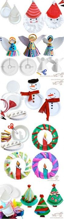 PAPER PLATE Ideas for Christmas crafts for kids. Children can make a snow man, a wreath, or an angel out of paper plates Christmas Arts And Crafts, Preschool Christmas, Christmas Activities, Christmas Projects, Kids Christmas, Holiday Crafts, Holiday Fun, Christmas Paper, Winter Activities