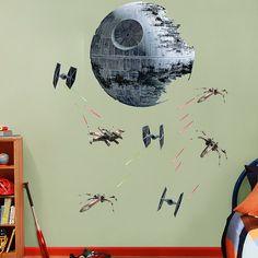 Death Star Battle REAL.BIG. Fathead – Peel & Stick Wall Graphic | Star Wars Wall Decal | Kids Decor | Bedroom/Playroom/Nursery