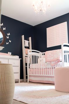 Feminine Navy and Pink Nursery from The Doll Kind   Featuring our Jaipur Fables Rug in Pink: http://www.rugs-direct.com/Details/JaipurRugs-Fables-Malo/121454/194974?utm_source=pinterest&utm_medium=social