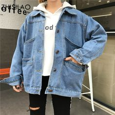 ZHISILAO 2018 Spring Ulzzang Chic Woman Denim Jacket Harajuku Normcore Woman Coat Oversized Bomber Jacket Long Casual Jacket Source by trangcucdd outfit How To Wear Denim Jacket, Jean Jacket Outfits, Leather Jacket Outfits, Denim Outfits, Mode Outfits, Korean Outfits, Fall Outfits, Casual Outfits, Fashion Outfits