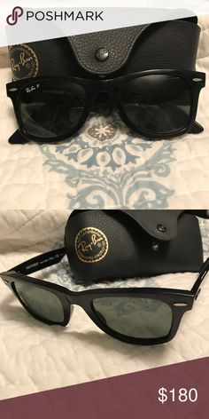8145129a3d5c5 Authentic Ray Ban Wayfarer Women s wayfarer polarized sunglasses. Worn a  few times. No scratches! Like new condition.comes with case and cloth.