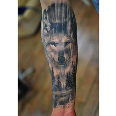 "Gefällt 294 Mal, 5 Kommentare - Tattoo Frequency (@tattoofrequency) auf Instagram: ""Completely healed black and gray/blue wolf tattoo #wolf #wolftattoo #animal #animaltattoo #nature…"""