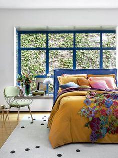 Amei esse janelão azul com vista para a cerca viva