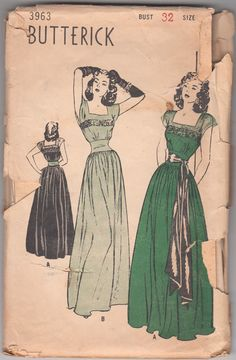 Vintage Sewing Pattern Ladies' Evening Gown 1940's Butterick 3963