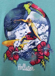 6a0d18dd Hollister Surfer T shirt Teal Blue Green Short Sleeve T shirt Super Soft  Graphic T shirt