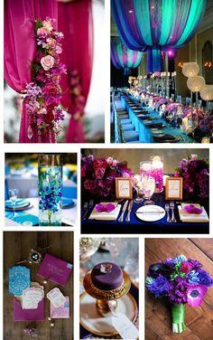 Jewel tone wedding colors - teal, aqua, royal blue, fuschia, magenta.