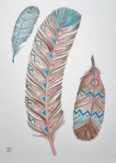 3 FeATheRs Native American Southwest Art Print 8 x 10 Peach Brown Blue