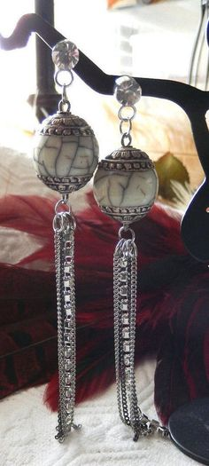 One of a Kind Sterling Silver, Bone, Crystal and Mixed Metal Earrings