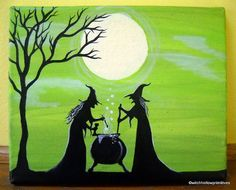 OOAK Primitive Witches Painting Witches Brew by WitchHollowPrims, $30.00