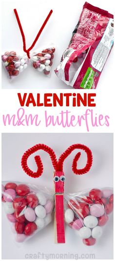 Valentine butterfly m&m treats! What a cute gift idea for the kids on valentines day.
