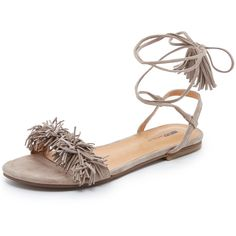5f54f0efcf9b Matiko Delilah Fringe Flat Sandals ( 130) ❤ liked on Polyvore featuring  shoes