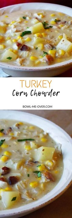 Got leftovers? Got dinner! Turkey Corn Chowder is an easy soup that you make from leftovers.  A delicious meal your everyone will love! via @bowlmeover