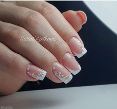 50 Top Best Wedding Nail Art Designs To Get Inspired Classy Acrylic Nails, Best Acrylic Nails, French Manicure Nails, French Nails, Cute Nails, Pretty Nails, Lace Wedding Nails, Bridal Nail Art, Bride Nails