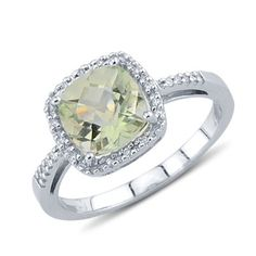 Solitaire Cushion Cut Prong Set Green Amethyst Round Diamond Gemstone Ring In 14K White Gold    $350.00