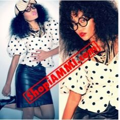 OH SO YOU THINK YOU SOPHISTICATED? PolkaDot Sophistication Blouse size 4 and the Black Leather Skirt are AVAILABLE NOW!!! ShopiAMMI.com To Shop This look and Others!!! #fashion #shop #shoponline #boutique #fashionista #Style #StreetFashion #vintage #instafashion #leather #polkaDot #redlip #hair #glasses #heels #model #ootd - @shopiammi- #webstagram
