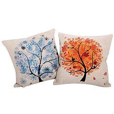 Set+of+2+Modern+Tree+Cotton/Linen+Decorative+Pillow+Cover+–+USD+$+29.99
