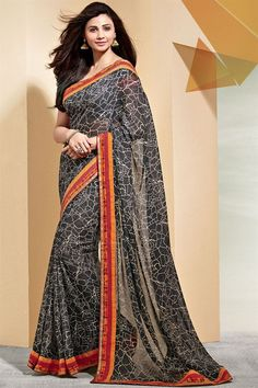 Gorgeous Daisy Shah Party Wear Printed Saree