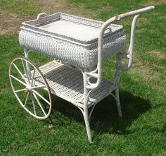 English wicker tea cart