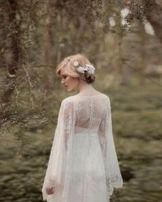 Long Sleeves Lace Woodland Wedding Dress