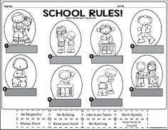 School Rules Freebie!   This is an awesome activity to use during the first week of school. You can use it as morning work or as a group activity as you are going over school rules for your class. Be sure to download it here!  grades k-3 lessonplandiva school rules