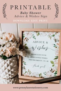 Display this table sign along with some cards (check out our free ones!) to gain some valuable advice and wishes from your Baby Shower guests! Simply download and print. * * Instant Download Printable DIY PDF File Template White Floral Flowers Botanical Bouquet Girl Boy Unisex Gender Neutral Table Sign Decor Baby Shower Host, Baby Shower Advice, Floral Baby Shower, Baby Shower Parties, Baby Table, Baby Shower Table, Diy Printable Stationery, When You Are Happy, Table Signs