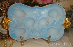 AWESOME - Limoges - Deviled Egg Tray - Plate - Dish - Hand Painted - Powder Blue Forget-Me-Not Blossoms - Radiant Gold Highlights - Scalloped Rim - Faux Gilded Handles - French Hand Painted Heirloom