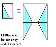 Book purse instructions. Blue line is the folded edge.  The red line is a folded edge that should be cut to separate the triangle(s) from each other.