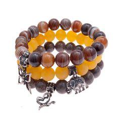 three bracelets ,S8,bracelet,eco,beaded brancelet,for gift, boho bracelets, agate, for gift,bullerfly, elephant, for her, pendant by Artseko on Etsy
