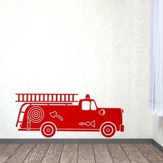 Muursticker in retro stijl van een brandweer auto | KidZstijl.nl