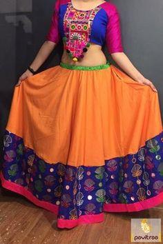 Buy Gujarati Style Ghagra Choli In Orange Color online in India at best price. mpressive designed gujarati style ghagra choli in orange color. Gratify your appear and iconic fashi Garba Dress, Navratri Dress, Lehnga Dress, Garba Dance, Choli Designs, Lehenga Designs, Saree Blouse Designs, Indian Skirt, Indian Dresses