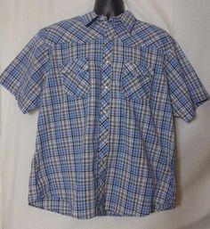Wrangler Mens Multi Color Plaid Short Sleeve Pearl Button Shirt Size 2XL  #Wrangler #Western