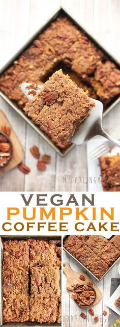 recipes cake Get out of bed on these chilly October days with this decadent vegan Pumpkin Cof. Get out of bed on these chilly October days with this decadent vegan Pumpkin Coffee Cake. Click the photo for the recipe. Brownie Desserts, Oreo Dessert, Mini Desserts, Coconut Dessert, Pumpkin Dessert, Vegan Dessert Recipes, Delicious Vegan Recipes, Cake Recipes, Vegan Thanksgiving Desserts