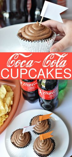 With a few modifications, I was able to turn my mom's old-fashioned recipe for Chocolate Coca-Cola Cake into Coca-Cola cupcakes. And just like my mom's cake, these are so tasty and incredibly moist. You won't be able to eat just one! They're the perfect Game Day treat! #GameTimeHosting #ad