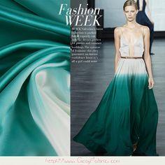 Tissu Crêpe Satin de 100% Soie motifs Gradient Vert et blanc, Tissu dété, Tissus pour vêtement, Tissu à la mode, 1m