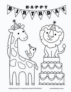 Cute free birthday coloring sheets.