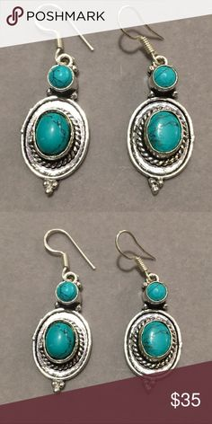 Antique silver turquoise pierced earrings Antique silver authentic turquoise pierced earrings Jewelry Earrings