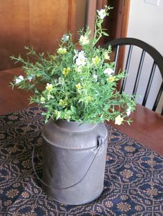 Flowers in old pail
