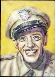 Barney Fife illustration ‧ watercolor on pencil ‧ art college ‧ Andy Van Engen ‧ 2000