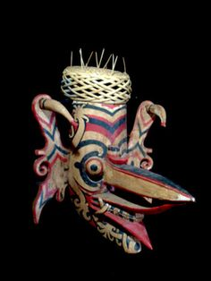 Superb used authentic Dayak Mask for ceremonial dance Borneo Indonesia
