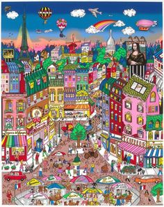 Fazzino Paris aktuell in der Galerie Wehr Hall Painting, Puzzle Art, Drawing Projects, New York Art, Cartoon Art Styles, Aesthetic Art, Art Blog, Pixel Art, Art For Kids