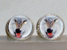 Ohrstecker Wolf Glas Metall Legierung ohne Stein Ohrschmuck Modeschmuck