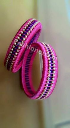 Pink and Blue Silk Thread Bangle Pair - unitedcasual Silk Thread Bangles Design, Silk Thread Necklace, Silk Bangles, Bridal Bangles, Thread Jewellery, Paper Jewelry, Fabric Jewelry, Beaded Bracelets, Diy Jewellery