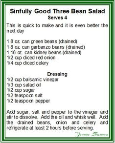 3 Bean Salad Even better if it is made the day before so it is perfect to make ahead for Sunday dinner so that you can enjoy the extra time with your guests. 3 Bean Salad, Three Bean Salad, Bean Salad Recipes, Salad Bar, Side Salad, Soup And Salad, Summer Recipes, Great Recipes, Favorite Recipes