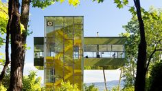 Up in the Trees. A vacation house is turned on its side and its parts stacked up to access the view. The main living space is cantilevered above in the forest canopy—up in the trees.