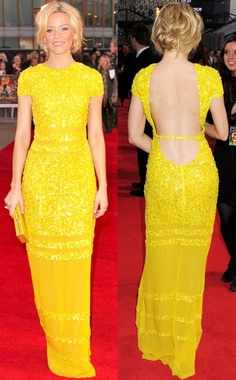 Elizabeth Banks @ Hunger Games London premiere; simple, loose updo  love the yellow!