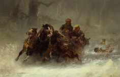 'A Troika Persued by Wolves' ~ Adolf Schreyer, 1828-1899