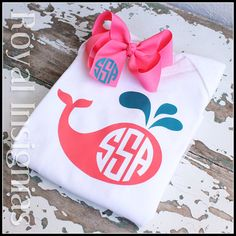 Whale Monogram onsie tutu tshirt infant toddler monogram baby gift youth hair bow by Royalinsignias, $15.00
